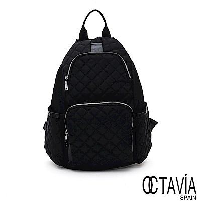 OCTAVIA 8  -  輕奢系列 菱格尼龍配皮後取式防盜後背包 - 快意黑