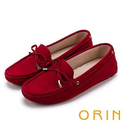ORIN 經典復古時尚 真皮手縫平底帆船鞋-紅色