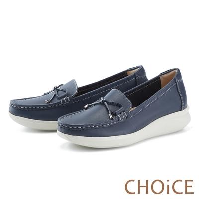 CHOiCE 輕量縫線牛皮厚底 女 休閒鞋 藍色