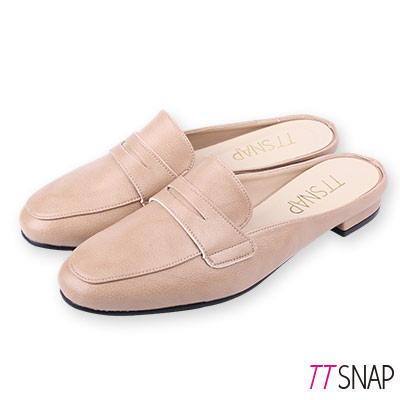 TTSNAP訂製款-修長顯瘦半拖方頭穆勒鞋 卡其