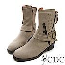 GDC-小牛皮西部率性經典鉚釘側拉鍊中筒靴-灰色