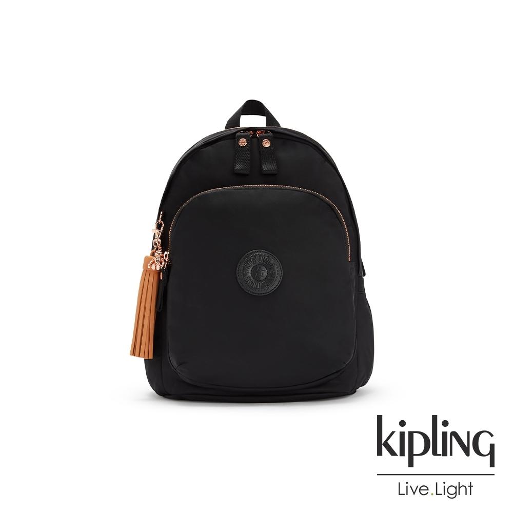 Kipling 率性玫瑰金細節黑色時尚拉鍊大開口後背包-DELIA M