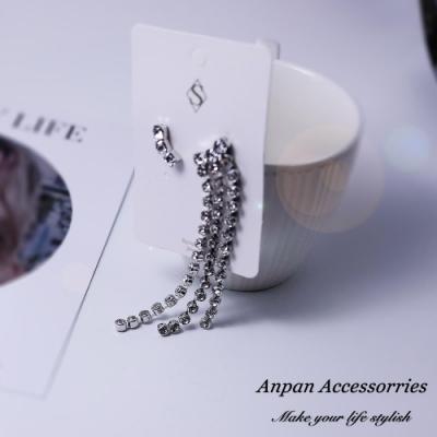 【Anpan 愛扮】韓東大門滿鑽閃爍不對稱流蘇925銀針耳釘式耳環-銀