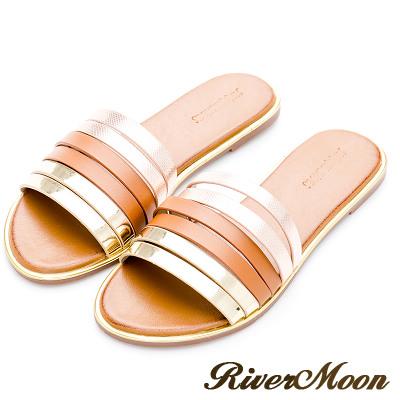 River&Moon大尺碼-韓風層次金屬線條金邊涼拖鞋-棕