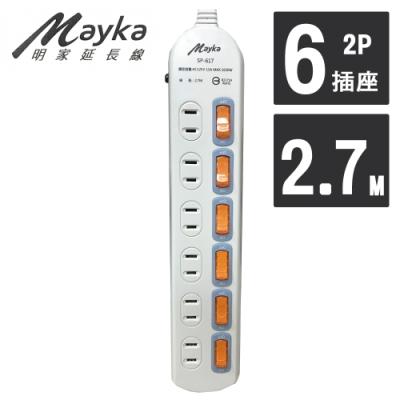 明家 Mayka SP-617-9 6開6插家用延長線 2.7M 9呎