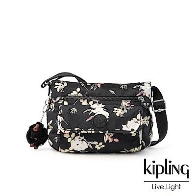 Kipling 沉靜黑浪漫花卉掀蓋側背包-SYRO
