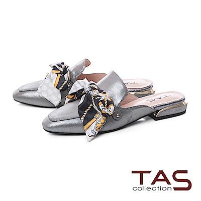 TAS 印花蝴蝶結穆勒鞋-質感灰