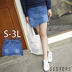 不規則割破抽鬚牛仔褲裙(S-3L) SISTERS
