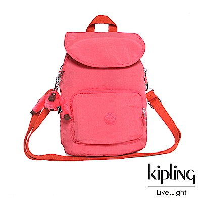Kipling 後背包 蜜桃粉撞色素面-中