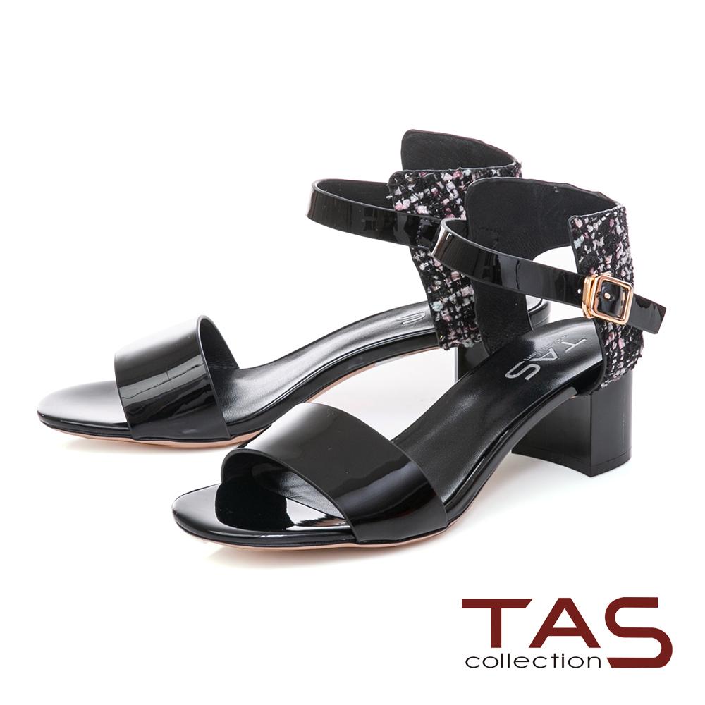 TAS 異材質拼接格紋繫帶粗跟涼鞋-質感黑