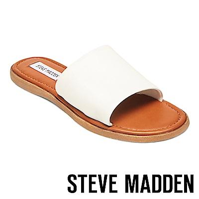 STEVE MADDEN- CAMILLA 真皮皮革一字拖鞋-白色