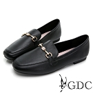GDC-真皮素雅水鑽飾釦基本平底樂福鞋-黑色