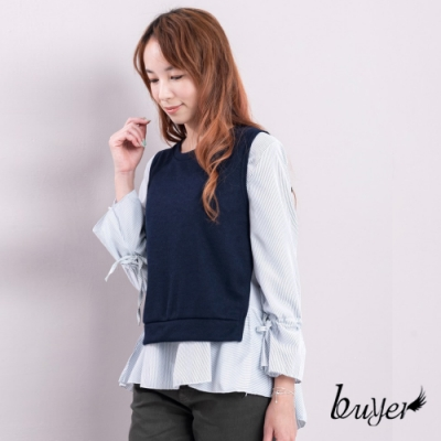 白鵝buyer 襯衫綁帶背心兩件式造型上衣-深藍
