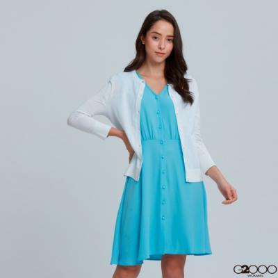 G2000素面七分袖針織外套-白色