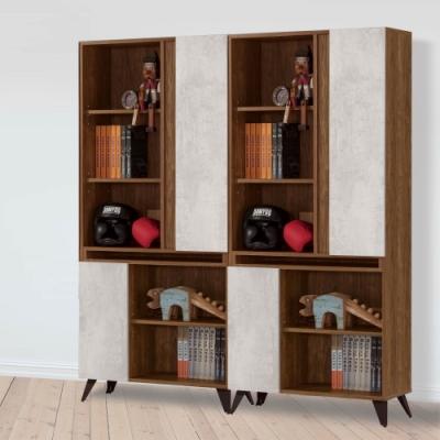 D&T 德泰傢俱 DINO清水模風格5.3尺組合書櫃 -160x32x181cm