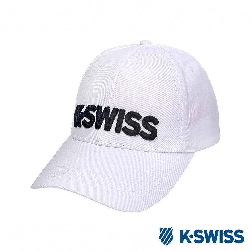 K-SWISS Basic 3D KS Logo Cap時尚棒球帽-白
