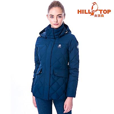 【hilltop山頂鳥】女款WINDSTOPPER抗風羽絨短大衣F22FY1藍