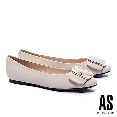 平底鞋 AS 金屬皮帶釦飾全真皮方頭平底鞋-米