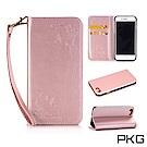 PKG Apple IPhone 8 PLUS 側翻式皮套-精選系列-蝴蝶壓紋-玫瑰金