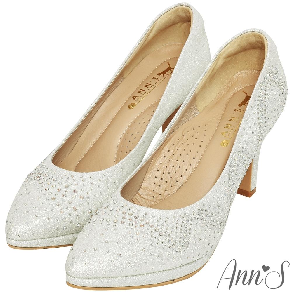 Ann'S溫柔流線-漸層手工燙鑽防水台高跟尖頭婚鞋-銀(版型偏小)