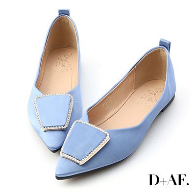 D+AF 華麗焦點.緞面鑽飾尖頭平底鞋*藍