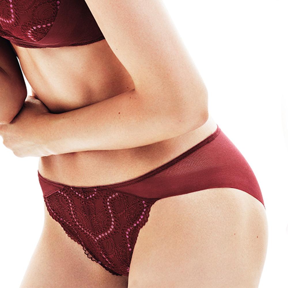 黛安芬-輕塑美型系列中腰內褲 M-EEL(石榴紅)
