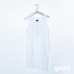 gozo 率性雙層網紗側開衩背心(二色)