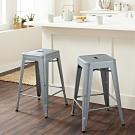 E-home Vali瓦力工業風可堆疊金屬吧檯椅-高61cm 銀色