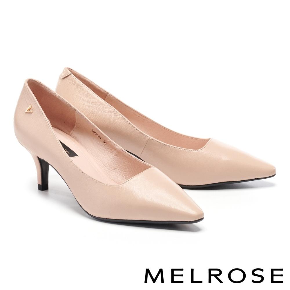 高跟鞋 MELROSE 經典純粹飾釦造型尖頭高跟鞋-粉