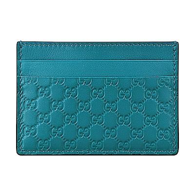 GUCCI經典Guccissima系列MINI雙G壓紋LOGO牛皮卡片夾(土耳其綠)