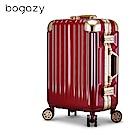 Bogazy 迷幻森林III 26吋鋁框新型力學V槽鏡面行李箱(暗紅金)