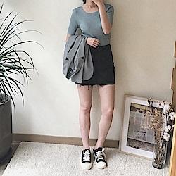 衣櫃必備合身牛仔短裙-2色-TMH