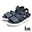 bac 台灣品質 舒適大底真皮涼鞋-藍