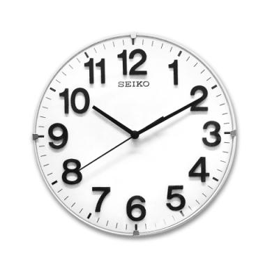SEIKO 精工 / 座掛兩用 立體數字 極簡風 靜音 座鍾 圓掛鐘 - 白色