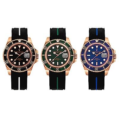 (時時樂)Valentino Coupeau范倫鐵諾 古柏 陶瓷水鬼腕錶 3選1【玫瑰金色/橡膠錶帶】