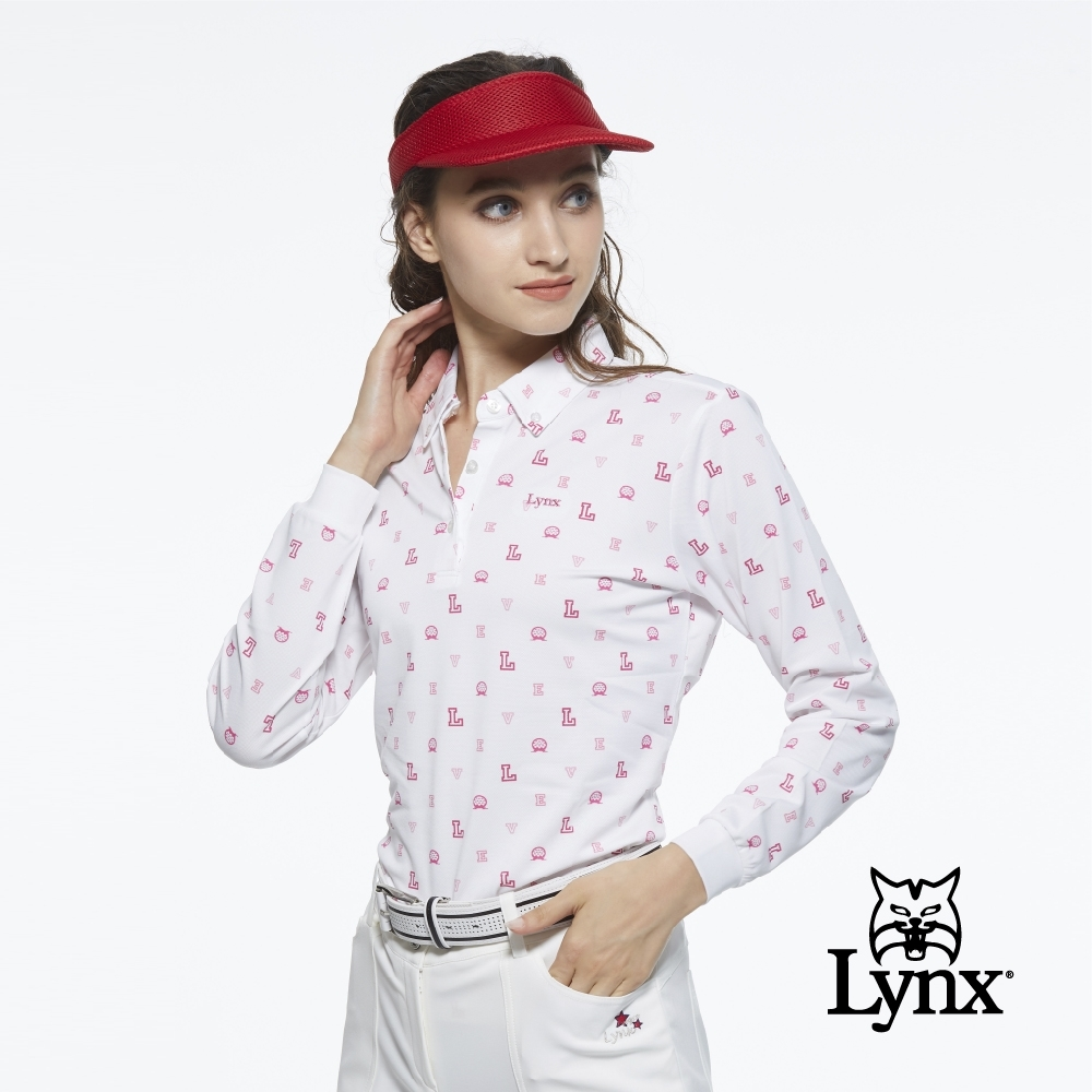 【Lynx Golf】女款吸汗速乾網眼材質L字樣高爾夫印花長袖POLO衫-白色