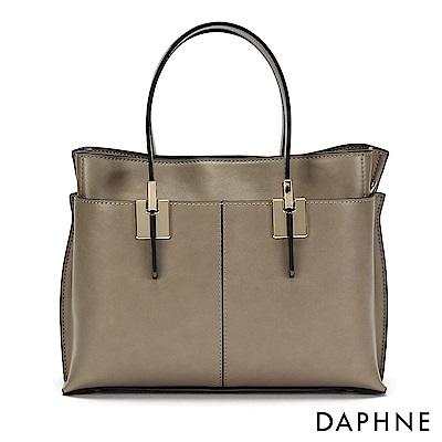 達芙妮DAPHNE-拼接多層袋手提方包-杏