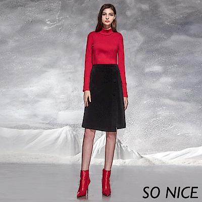 SO NICE氣質不對稱絨感過膝裙