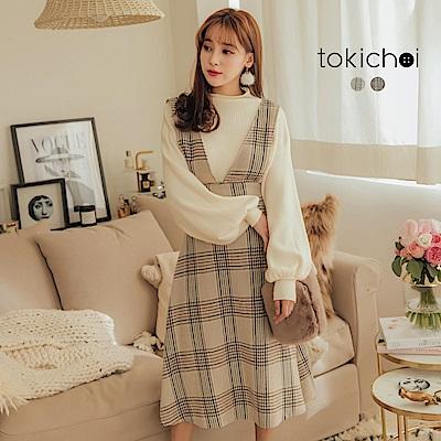 東京著衣 優雅迷人格紋圓裙背心式洋裝-S.M.L(共二色)