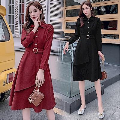 DABI 韓國學院風復古燈芯絨單擺配腰帶長版長袖洋裝