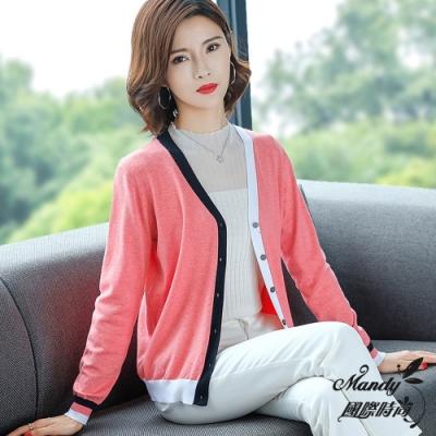Mandy國際時尚 針織外套 秋 拼色V領短款長袖寬鬆毛衣外套(4色)