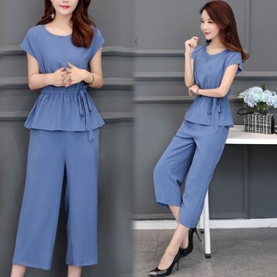【韓國K.W.】(預購)   時尚穿搭收腰高工藝褲裝