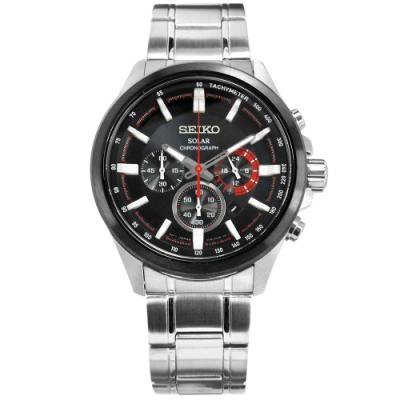 SEIKO 精工 太陽能 藍寶石水晶 計時 防水100米 不鏽鋼手錶-黑色/43mm
