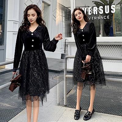 DABI 韓系大碼赫本風裙亮片V領絲絨長袖洋裝