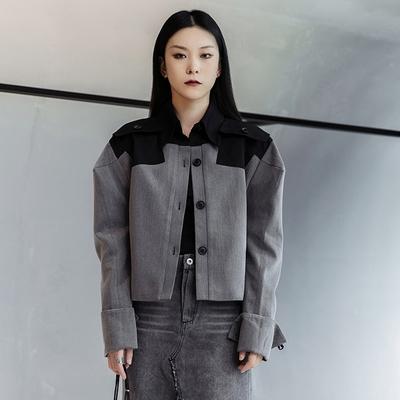 設計所在Style-港風洋氣聳肩拼色靚女短夾克外套