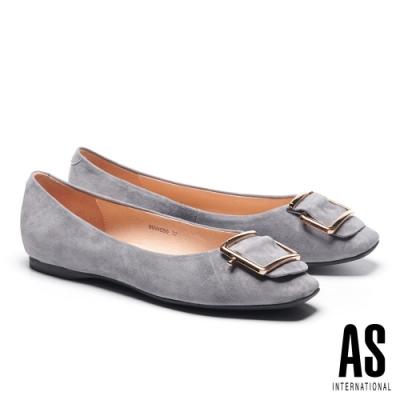 平底鞋 AS 金屬反折帶釦全真皮方頭平底鞋-灰
