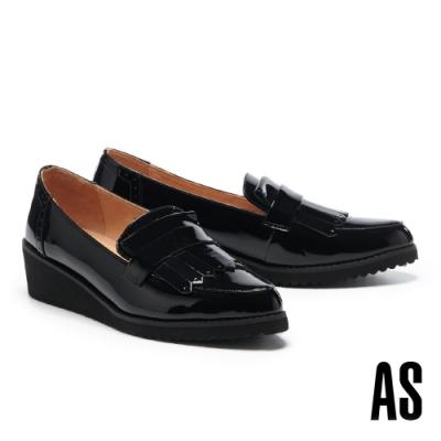 高跟鞋 AS 復古知性流蘇全真皮樂福楔型高跟鞋-黑