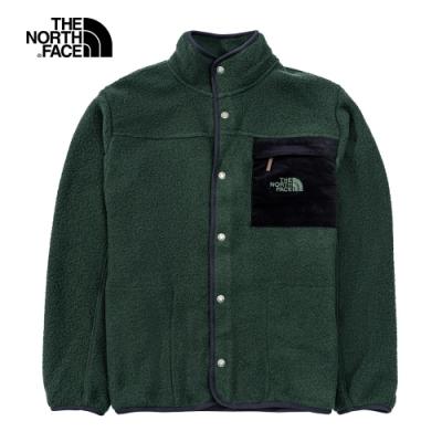 The North Face北面男女款綠色胸前口袋抓絨外套|4NB8HDB