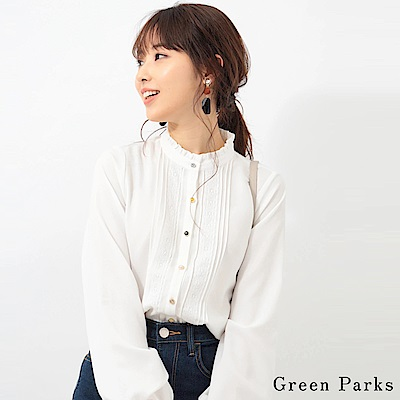 Green Parks 荷葉領口蕾絲襯衫上衣