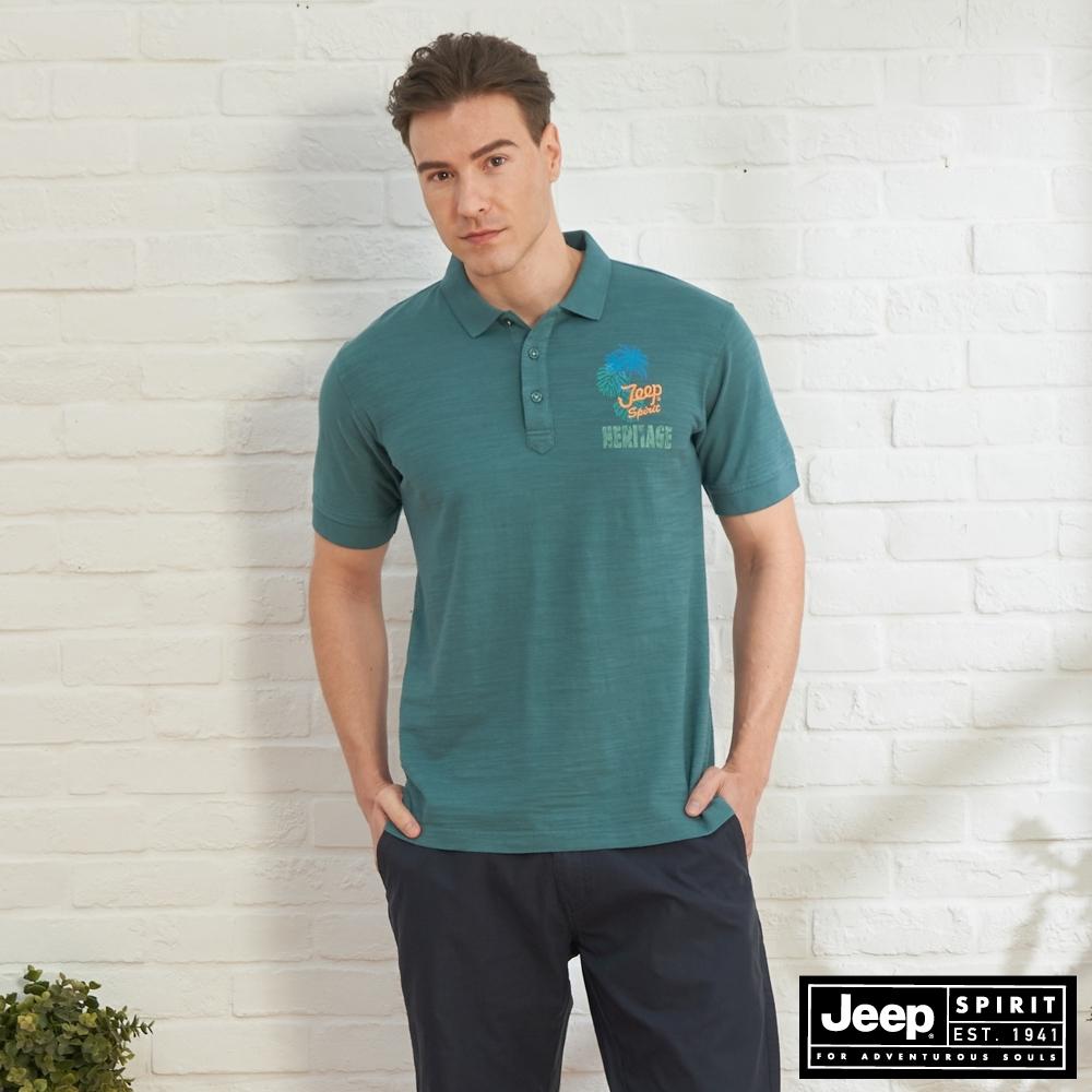 JEEP 男裝 闊葉印花舒適短袖POLO衫-松綠